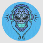 Blue DJ Sugar Skull Round Sticker