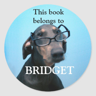 Blue Doberman book stickers
