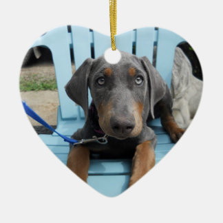 Blue Doberman eyes Christmas Ornament