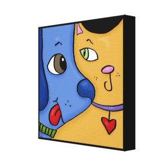 Blue Dog and Orange Cat-Togetherness Canvas Print