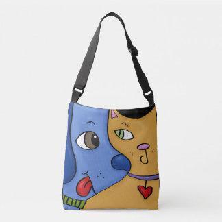 Blue Dog and Orange Cat-Togetherness Crossbody Bag