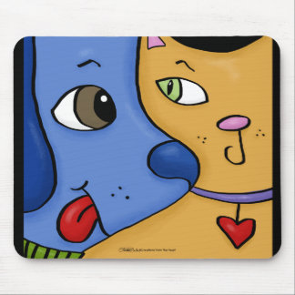 Blue Dog and Orange Cat-Togetherness Mouse Pad