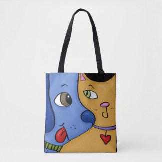 Blue Dog and Orange Cat-Togetherness Tote Bag
