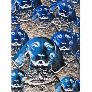 Blue Dog Collage Standing Photo Sculpture