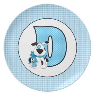 """Blue Dog Monogrammed """"D"""" Kid's Plate"""