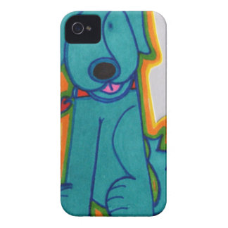 Blue dog with heart. iPhone 4 Case-Mate cases