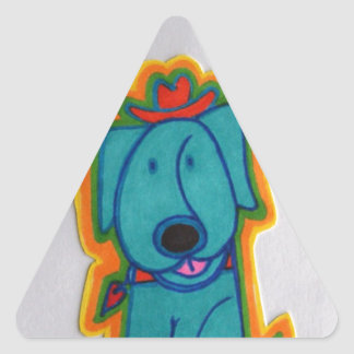 Blue dog with heart. triangle stickers