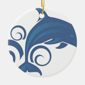 Blue dolphin christmas ornament