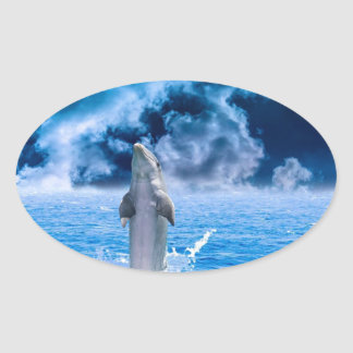 Blue Dolphin Jumping Oval Sticker