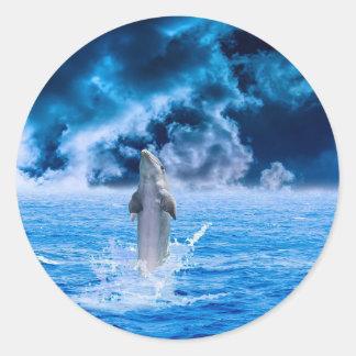 Blue Dolphin Jumping Round Sticker
