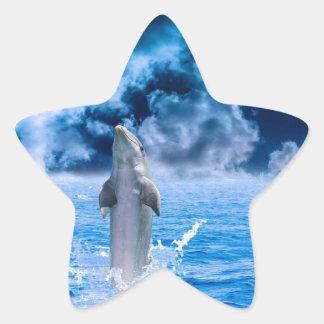 Blue Dolphin Jumping Star Sticker