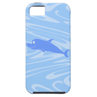 Blue Dolphin on Wavy Pattern. iPhone 5 Covers