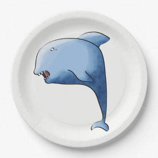 Blue dolphin paper plate