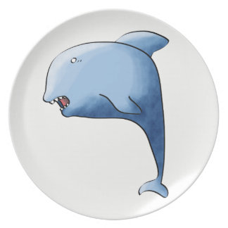 Blue dolphin plate