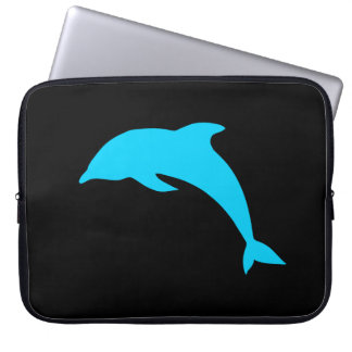 Blue Dolphin Silhouette Laptop Sleeve