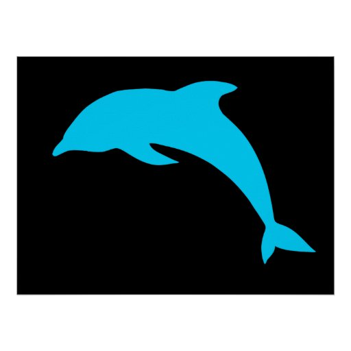 Blue Dolphin Silhouette Poster