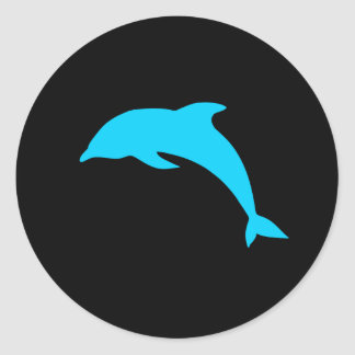 Blue Dolphin Silhouette Round Stickers