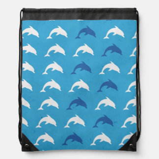 Blue dolphins drawstring bag