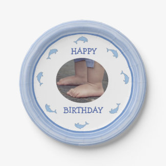 Blue dolphins Happy Birthday 7 Inch Paper Plate