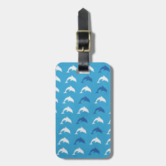 Blue dolphins luggage tag