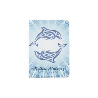 Blue Dolphins Mandala Passport Holder
