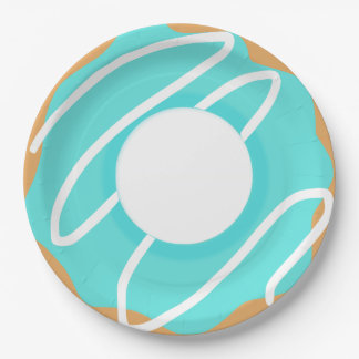 Blue Donut Paper Plate