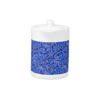Blue Doodle Design on Teapot