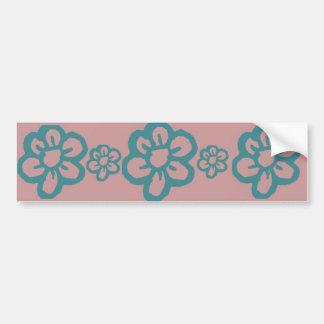 Blue Doodle Flower Bumper Sticker