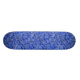 Blue Doodled Design on Skateboard