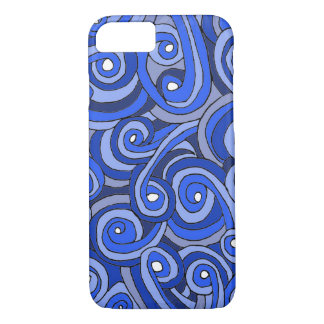 Blue Doodled iPhone 7 Barely There Case