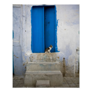 Blue door, Kairouan, Tunisia, Africa Poster