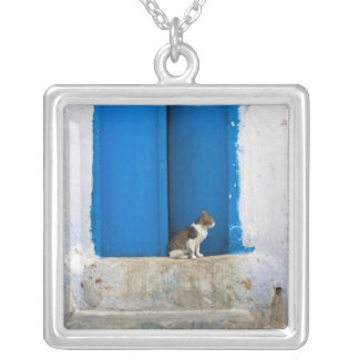 Blue door, Kairouan, Tunisia, Africa Silver Plated Necklace