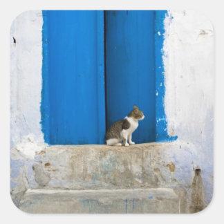 Blue door, Kairouan, Tunisia, Africa Square Sticker