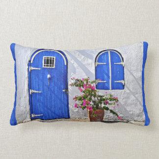 Blue Door Stucco Home Throw Pillow