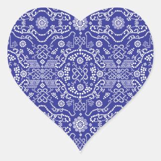 blue dot flower pattern heart sticker