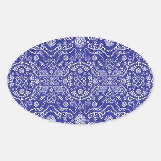 blue dot flower pattern oval sticker