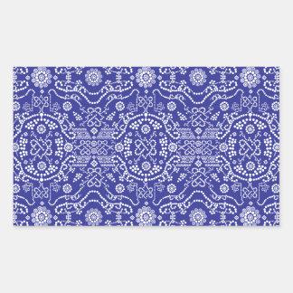 blue dot flower pattern rectangular sticker