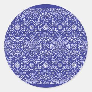 blue dot flower pattern round sticker
