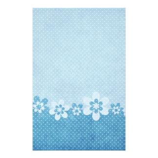 Blue Dot Mod Floral Personalized Stationery