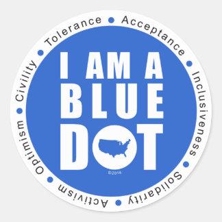 Blue Dot U.S.A. Large Classic Round Sticker