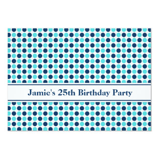 "Blue Dots 25th Birthday Party Invitation 5"" X 7"" Invitation Card"