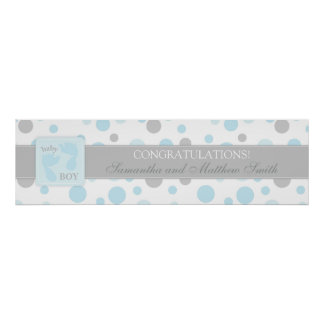 Blue Dots & Baby Foot Print Boy Baby Shower Banner