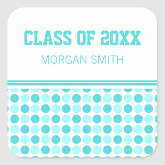 Blue Dots Graduation Custom Year Name Stickers