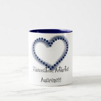 Blue Dotted Heart Rheumatoid Arthritis Awareness Coffee Mug