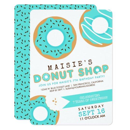 Blue Doughnut Shop Birthday Party Card