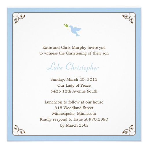 Blue Dove Baptism/Christening Invitation Invitation