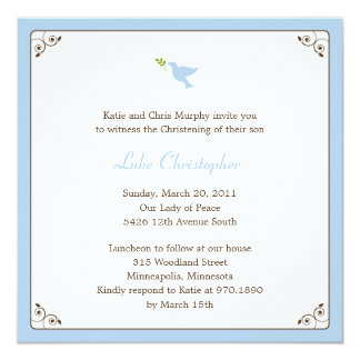 Blue Dove Baptism/Christening Invitation