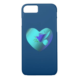 Blue Dove of the Sky Heart iPhone 7 Case
