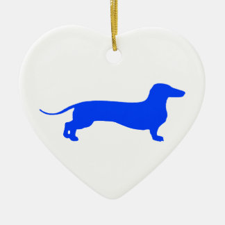 Blue Doxie Ceramic Heart Decoration