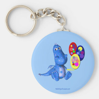 Blue Dragon And Balloons Cute Keychain